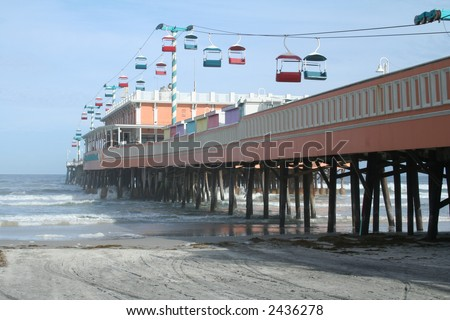 Daytona Beach Florida Boardwalk and Pier - stock photo