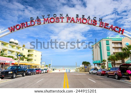 "DAYTONA BEACH, FLORIDA - JANUARY 3, 2015: Daytona Beach sign. The popular spring break destination is dubbed ""World's Most Famous Beach."" - stock photo"