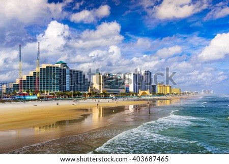 Daytona Beach, Florida, USA beachfront skyline. - stock photo