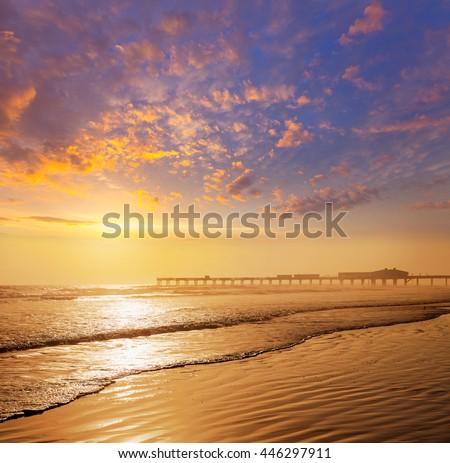 Daytona Beach in Florida shore with pier USA - stock photo