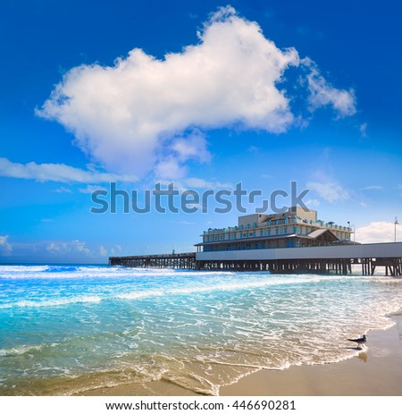 Daytona Beach in Florida with pier and coastline USA - stock photo