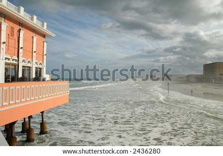 Daytona Boardwalk and Shoreline - stock photo