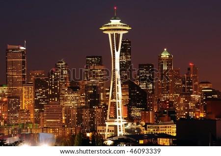 Dazzling image of the emerald city of Seattle skyline at dusk - stock photo