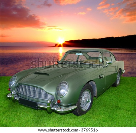 DB5 Vintage Aston Martin from the 1900's isolated on white with embedded clipping path (Former James Bond Car) - stock photo