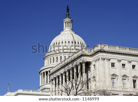 DC Capitol Building side view - stock photo
