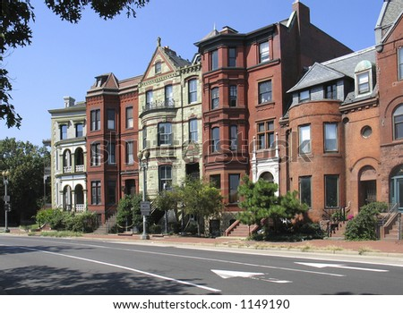 DC rowhouses- logan circle - stock photo