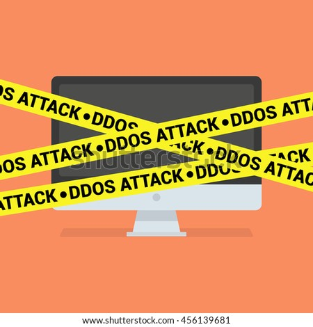 DDoS concept. Modern computer and DDoS tape isolated on background