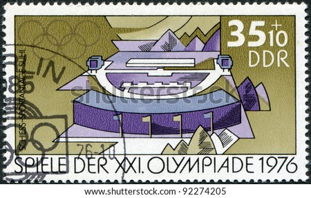 DDR - CIRCA 1976: A stamp printed in DDR, devoted to the Summer Olympics in Montreal, depicts Rifle range, Suhl, circa 1976