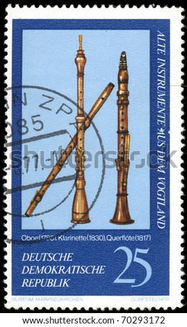 DDR -CIRCA 1970s: A stamp printed in the DDR (East Germany) shows a wind musical instruments, one stamp from series devoted Museum of national musical instruments, circa 1970s.