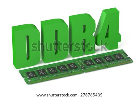 DDR4 memory module card  isolated on white background - stock photo