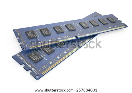 DDR3 memory modules  isolated on white background - stock photo