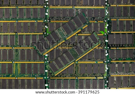 DDR RAM, Computer memory chips modules background - stock photo