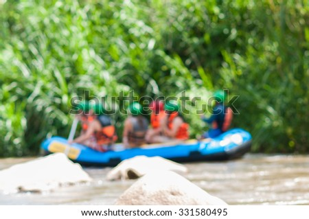 de-focused,blurry of rafting on the river - stock photo