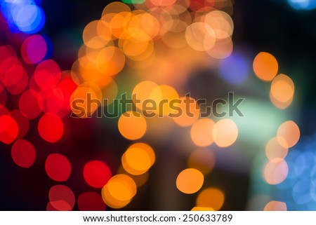 De-focused color background. Blurring the image colorful Christmas light - stock photo