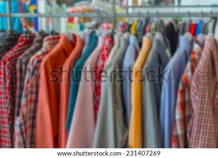 de focused,fashion clothes on hanger - stock photo