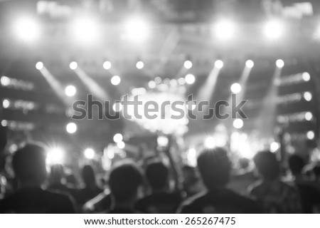 De-Focused Music Band Concert in Black and White - stock photo