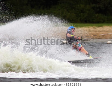DE MEERN, NETHERLANDS- JULY 23: Unidentified wakeboarder participates in the Dutch Championship  Wakeboard Boat 2011 Event on July 23, 2011 in De Meern, Netherlands.