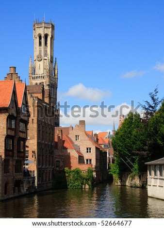 De Rozenhoedkaai (Quai of the Rosary) Bruges with The Belfry of Bruges, or Belfort in the background.