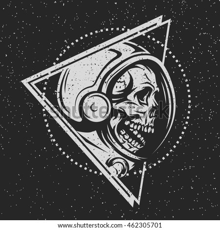 Dead astronaut in spacesuit and geometric element. On dark background. Illustration vector copy.