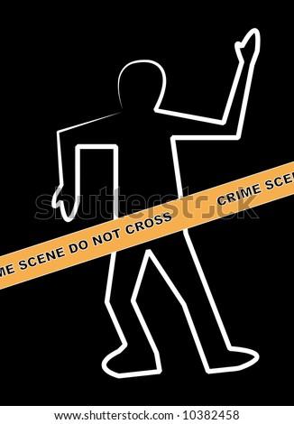 dead body outline with crime scene do not cross banner - stock photo