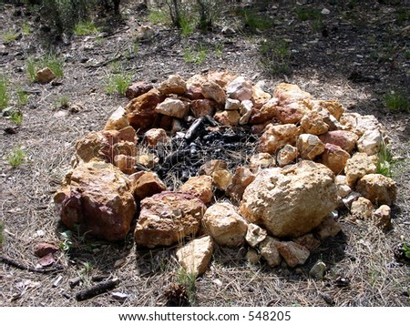dead campfire in woods - stock photo