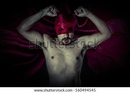 Dead, Carnival, Halloween, Blood, Scary, Male vampire with huge red coat and blood - stock photo