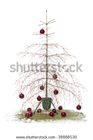 Dead christmas tree isolated on a white background - stock photo