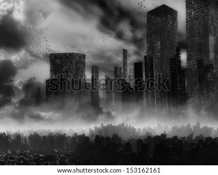 Dead city - stock photo