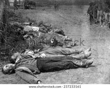 Dead Confederate soldiers near Spottsylvania, photograph by Timothy O'Sullivan, 1864.