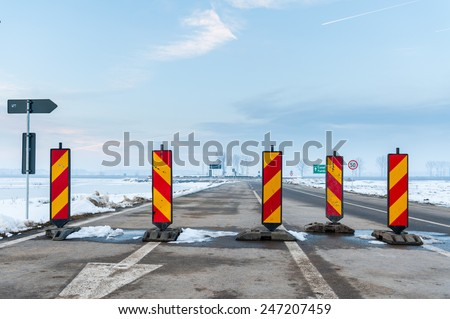 dead end, road repair and blocked - stock photo