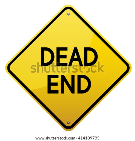 Dead End road sign. Yellow glossy road sign on white background.Vector scalable image. - stock photo