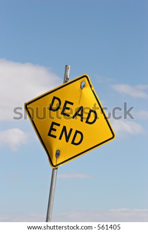 dead end sign - crooked and broken - stock photo