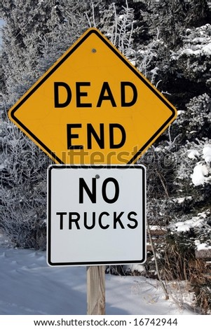 dead end sign winter road