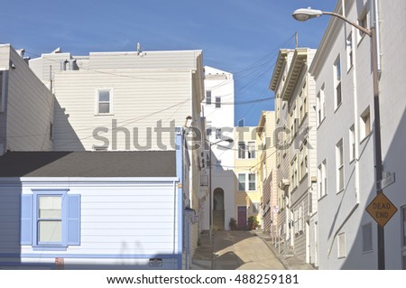 Dead End street San Francisco neighborhood California.