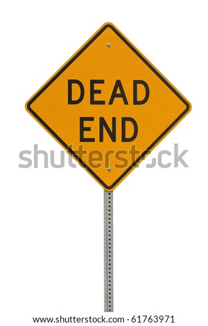 Dead end traffic sign isolated on white background - stock photo