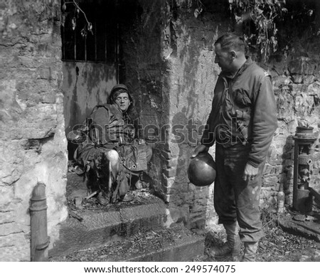 Dead German soldier was one of the 'last stand' defenders of German-held Cherbourg. June 22-25, 1944, during Normandy Campaign, France, World War 2. - stock photo