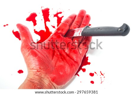 Dead hand with blood and knife isolate on white