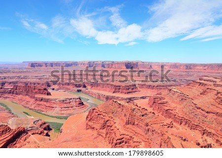 Dead Horse Point State Park in Utah, United States. Famous Colorado River canyon carved in red sandstone. - stock photo