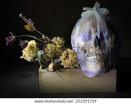 Dead human skull in plastic knotted bag light painting technique - stock photo