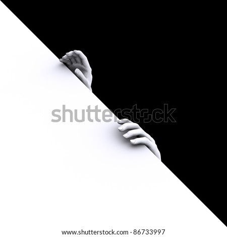 Dead Man's hand holding the edge of the abyss - stock photo