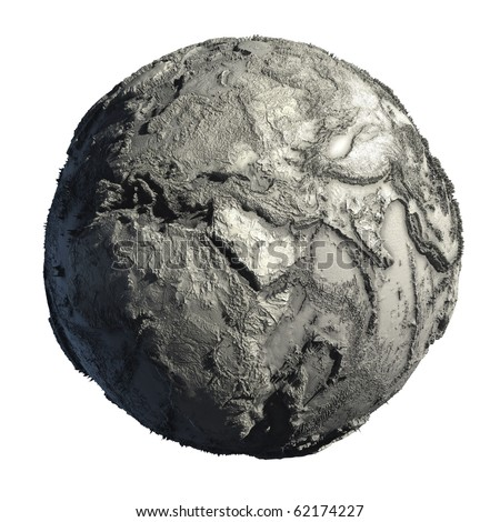 Dead Planet Earth without water - the global ecological catastrophe, a fantastic assumption of the future - stock photo