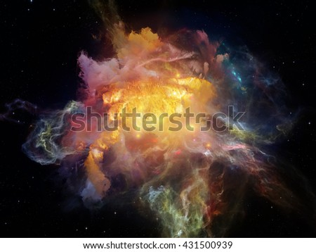 Dead Remember series. Composition of nebulous, organic forms and colors with metaphorical relationship to mind, dream, spirituality and imagination - stock photo