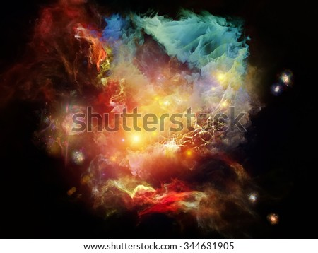 Dead Remember series. Graphic composition of nebulous, organic forms and colors  for subject of mind, dream, spirituality and imagination - stock photo