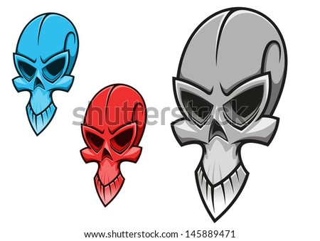Dead scary skull for tattoo or halloween holiday design or idea of logo. Vector version also available in gallery - stock photo