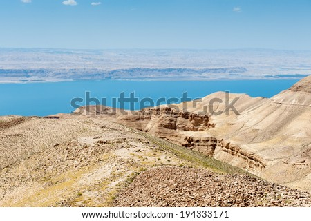 Dead sea and the hills of Jordan - stock photo
