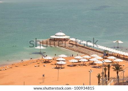 dead sea beach - stock photo