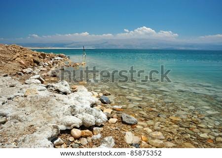 Dead Sea coast, Israel - stock photo