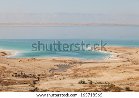 Dead sea from the Jordanian side - stock photo