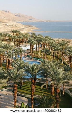 Dead Sea hotel resort  - stock photo
