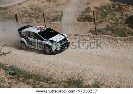 DEAD SEA, JORDAN - APRIL 16: M. Wilson & S. Martin driving a Ford Fiesta WRC #15 During Jordan Rally on April 16,2011 Day 2 in Dead Sea, Jordan.